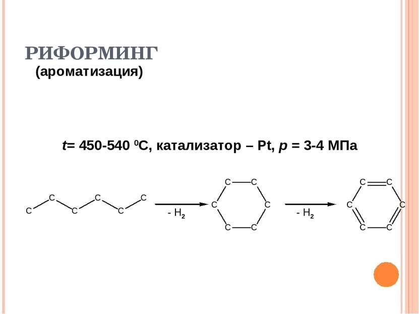РИФОРМИНГ (ароматизация) t= 450-540 0С, катализатор – Pt, p = 3-4 МПа - Н2 - Н2