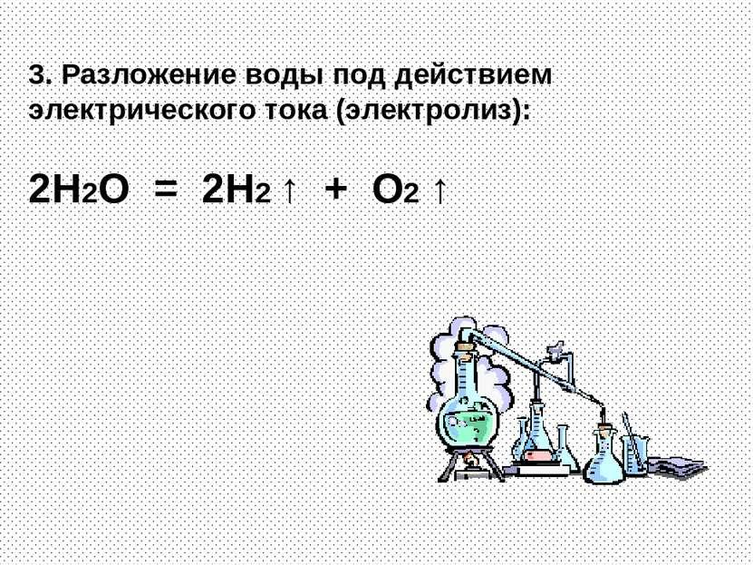 3. Разложение воды под действием электрического тока (электролиз): 2H2O = 2H2...