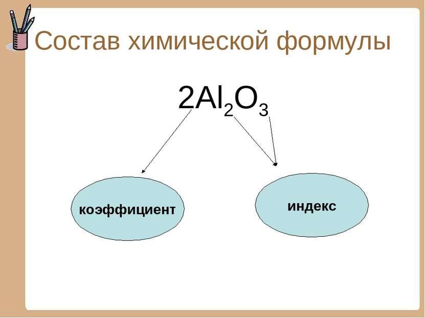 Состав химической формулы 2Al2O3 коэффициент индекс