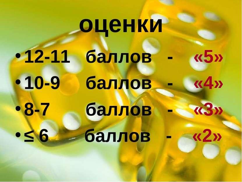 оценки 12-11 баллов - «5» 10-9 баллов - «4» 8-7 баллов - «3» ≤ 6 баллов - «2»