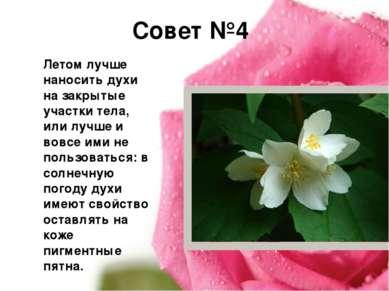 Совет №4 Летом лучше наносить духи на закрытые участки тела, или лучше и вовс...