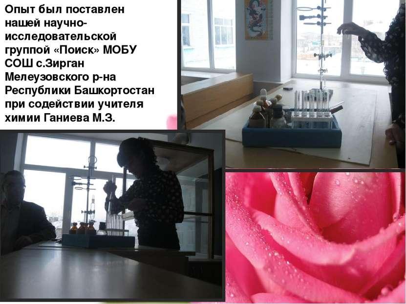 Опыт был поставлен нашей научно-исследовательской группой «Поиск» МОБУ СОШ с....