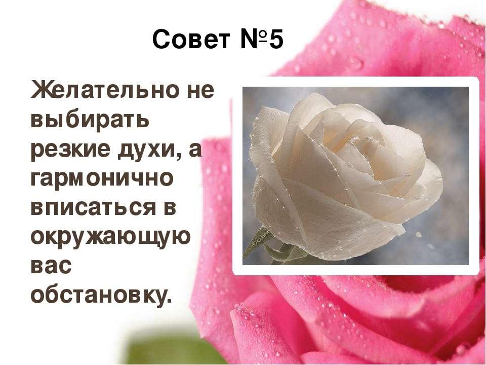 Совет №5 Желательно не выбирать резкие духи, а гармонично вписаться в окружаю...