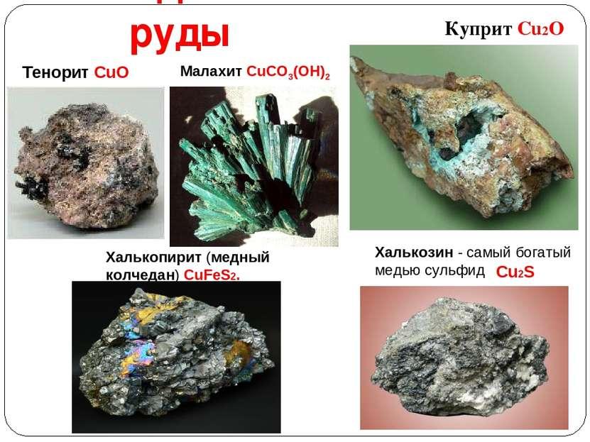Медные руды Куприт Cu2O Халькопирит (медный колчедан) CuFeS2. Cu2S Халькозин ...