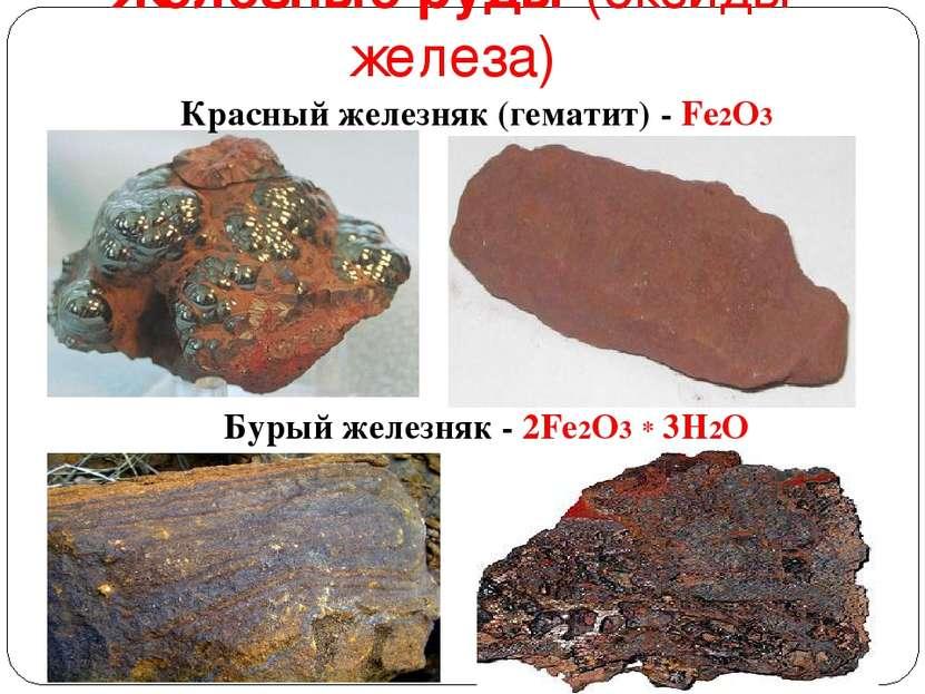 Железные руды (оксиды железа) Красный железняк (гематит) - Fe2O3 Бурый железн...
