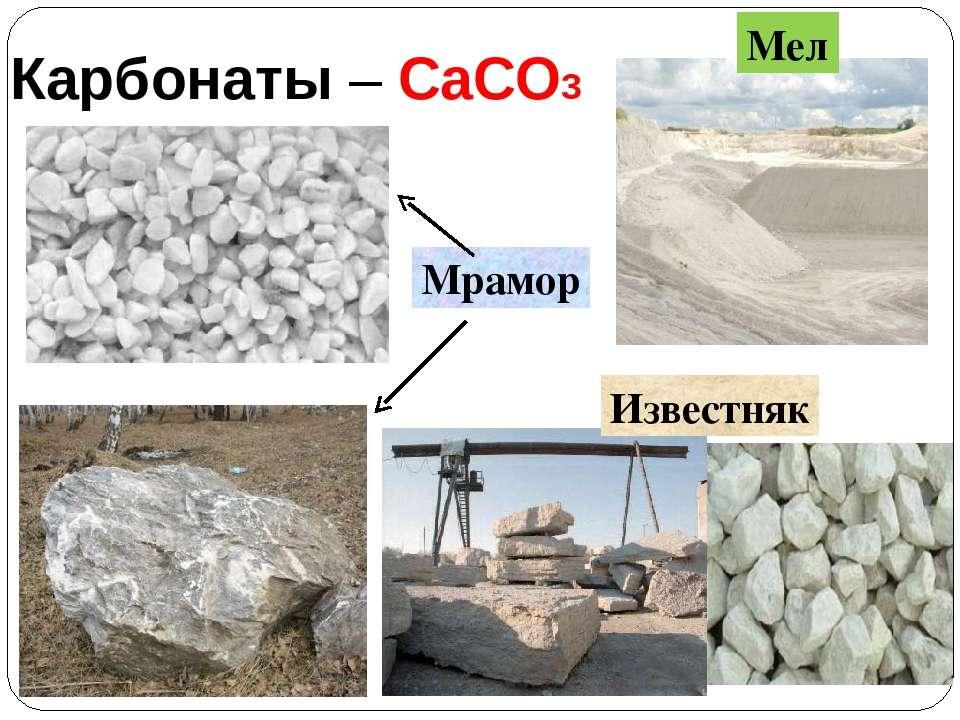 Карбонаты – CaCO3 Мрамор Известняк Мел