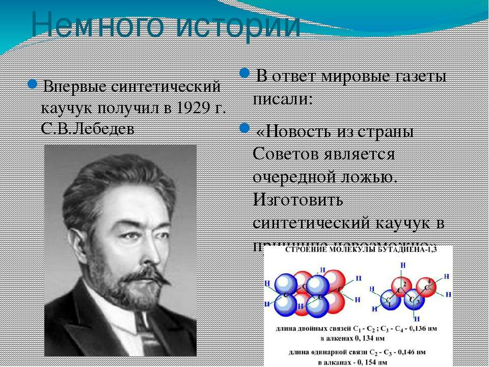 Немного истории Впервые синтетический каучук получил в 1929 г. С.В.Лебедев В ...