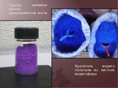 Пурпур - любимая краска древнеримской знати Краситель индиго получали из лист...