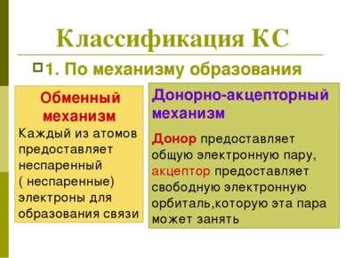 Классификация КС 1. По механизму образования Обменный механизм Каждый из атом...