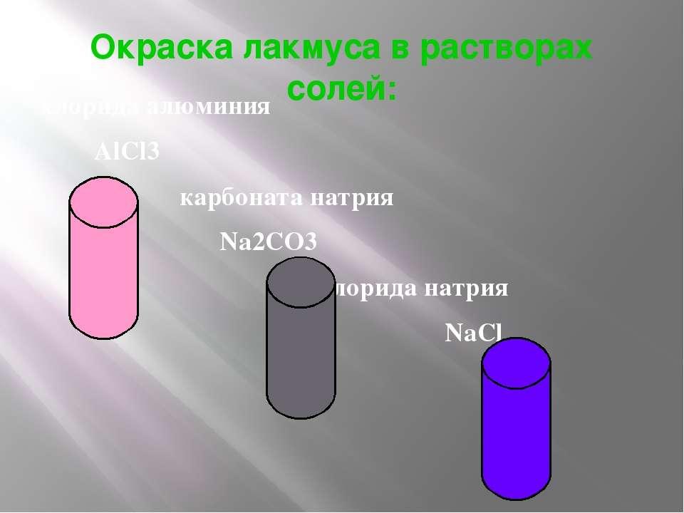 Окраска лакмуса в растворах солей: хлорида алюминия AlCl3 карбоната натрия Na...