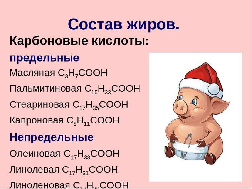 Состав жиров. Карбоновые кислоты: предельные Масляная С3Н7СООН Пальмитиновая ...
