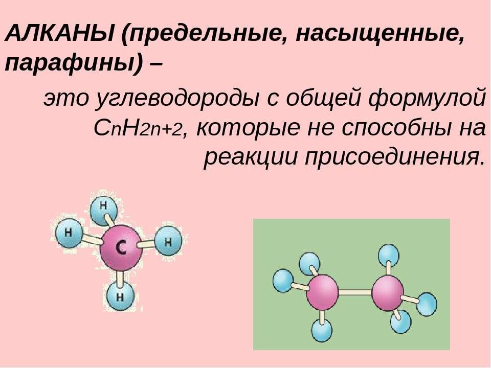 АЛКАНЫ (предельные, насыщенные, парафины) – это углеводороды с общей формулой...