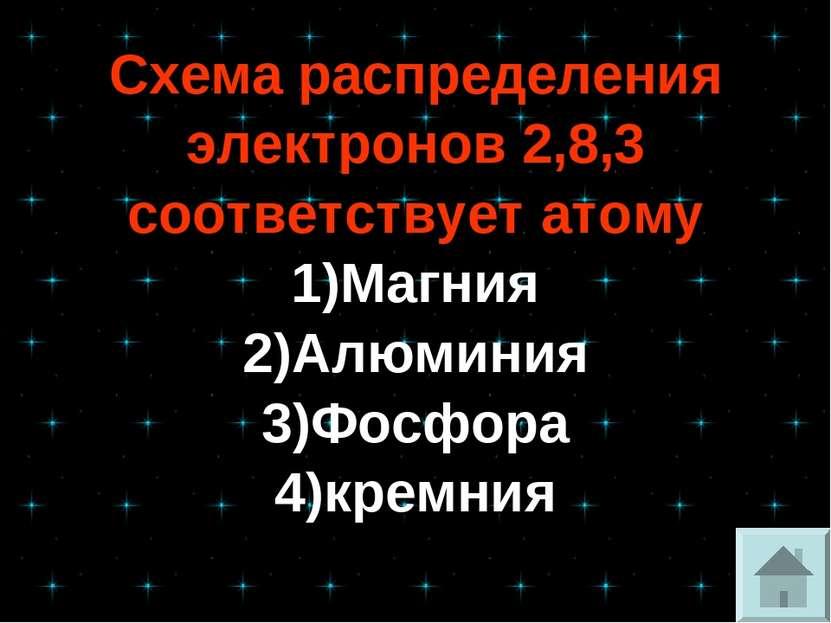 Схема распределения электронов 2,8,3 соответствует атому 1)Магния 2)Алюминия ...