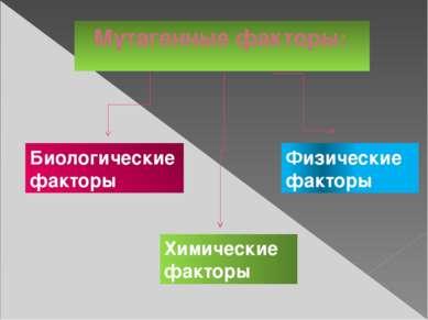 Мутагенные факторы: Физические факторы Химические факторы Биологические факторы