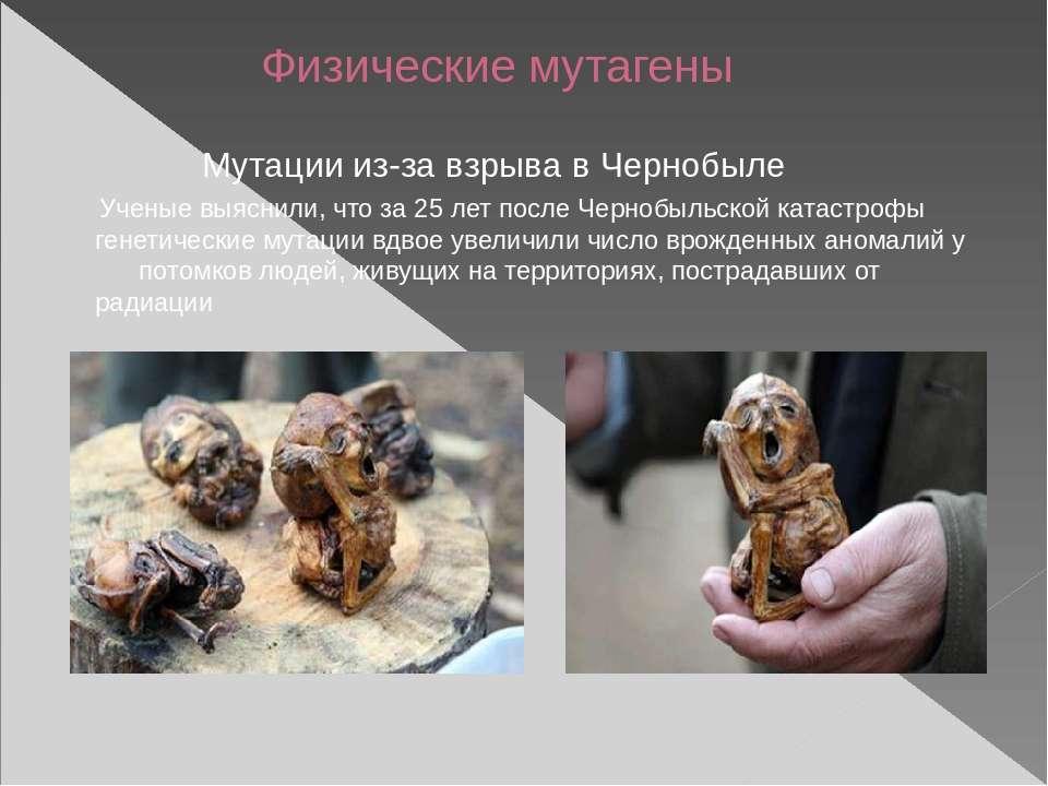 Физические мутагены Мутации из-за взрыва в Чернобыле Ученые выяснили, что за ...