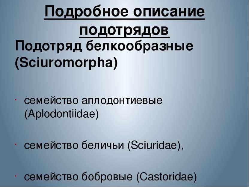Подробное описание подотрядов Подотряд белкообразные (Sciuromorpha) семейств...