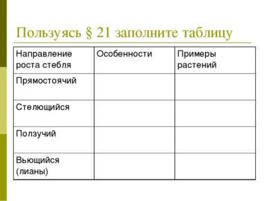 Пользуясь § 21 заполните таблицу Направление роста стебля Особенности Примеры...