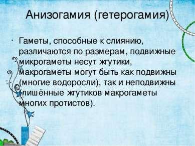 Анизогамия (гетерогамия) Гаметы, способные к слиянию, различаются по размерам...