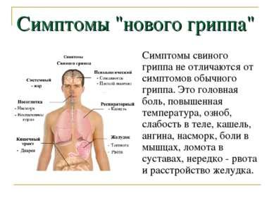 """Симптомы """"нового гриппа"""" Симптомы свиного гриппа не отличаются от симптомов о..."""