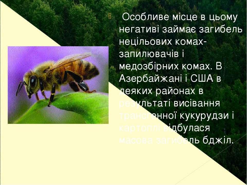 Особливе місце в цьому негативі займає загибель нецільових комах-запилювачів ...