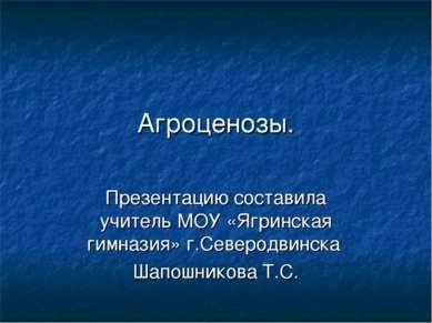 Агроценозы. Презентацию составила учитель МОУ «Ягринская гимназия» г.Северодв...