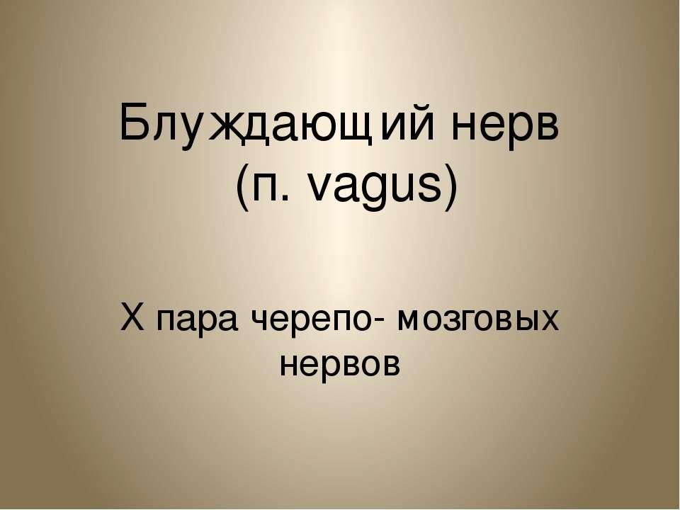 Блуждающий нерв (п. vagus) X пара черепо- мозговых нервов