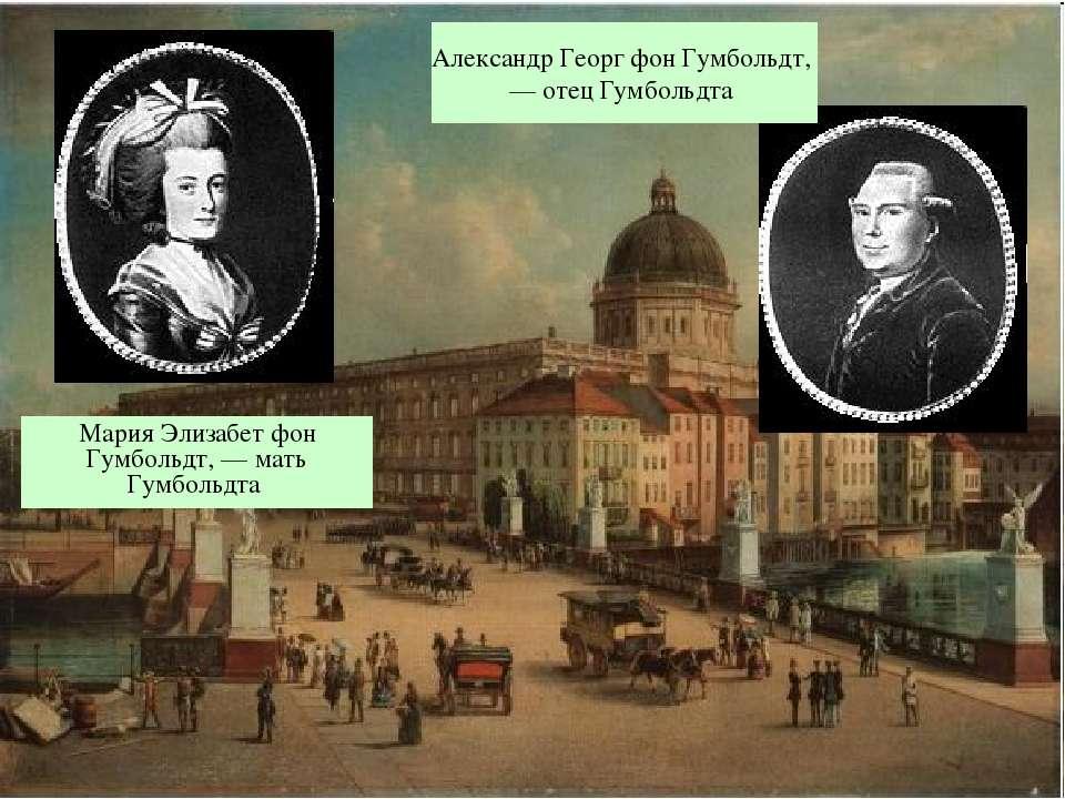 Мария Элизабет фон Гумбольдт, — мать Гумбольдта Александр Георг фон Гумбольдт...