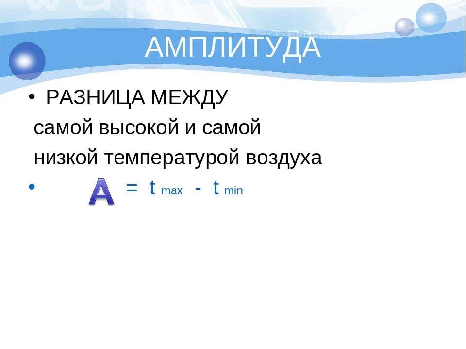 АМПЛИТУДА РАЗНИЦА МЕЖДУ самой высокой и самой низкой температурой воздуха = t...