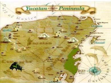 Следующий пункт путешествия— полуостров Юкатан Полуостров Юкатан глубоко вда...