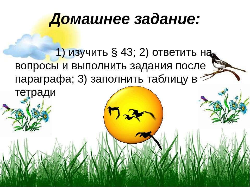 Домашнее задание: 1)изучить §43; 2)ответить на вопросы и выполнить задания...