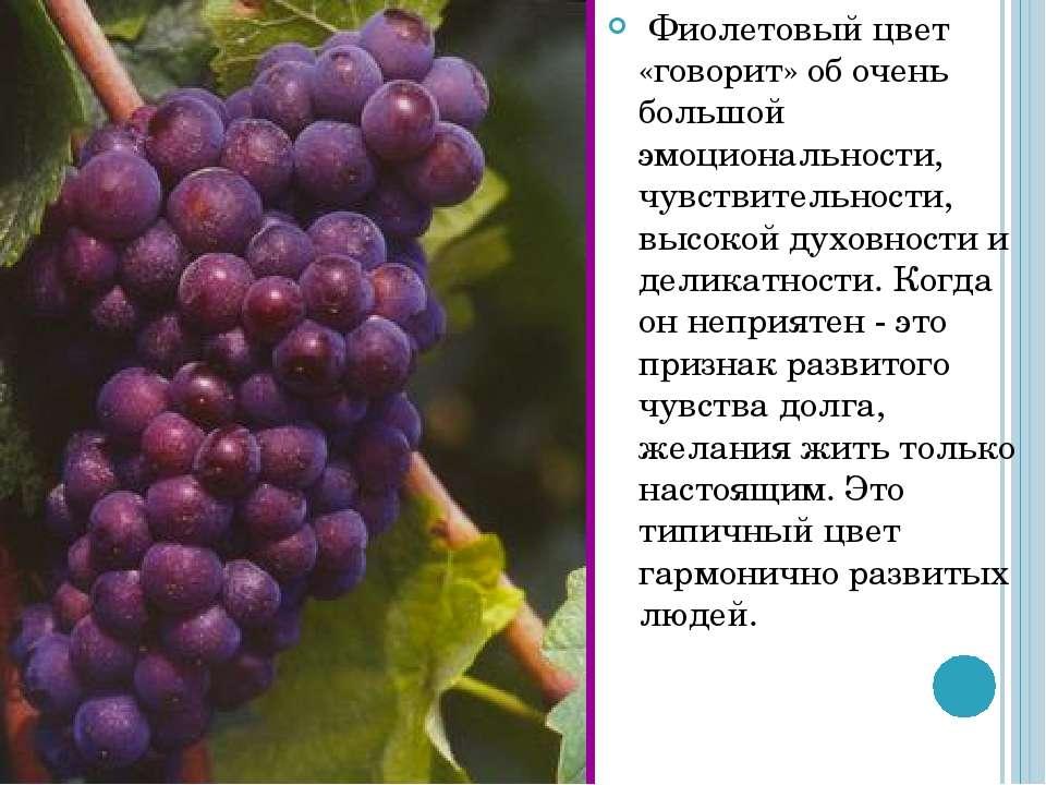 Фиолетовый цвет «говорит» об очень большой эмоциональности, чувствительности,...