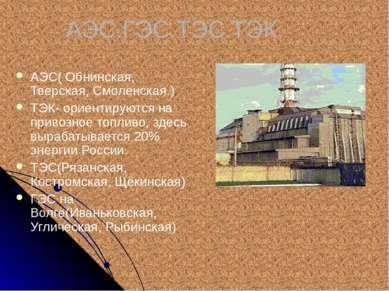 АЭС.ГЭС.ТЭС.ТЭК. АЭС( Обнинская, Тверская, Смоленская.) ТЭК- ориентируются на...