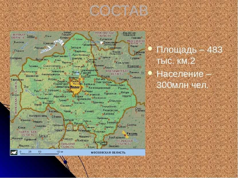 СОСТАВ Площадь – 483 тыс. км.2 Население – 300млн чел.