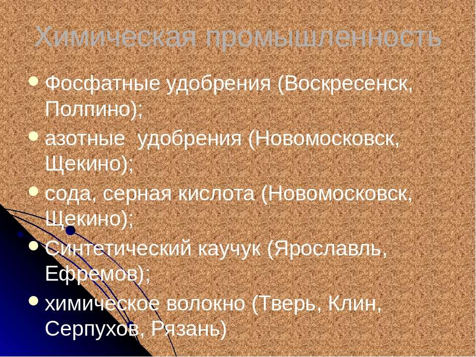 Химическая промышленность Фосфатные удобрения (Воскресенск, Полпино); азотные...