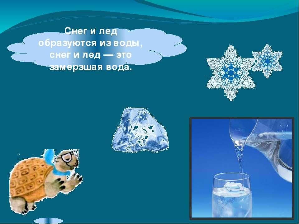 Снег илед образуются изводы, снег илед— это замерзшая вода.