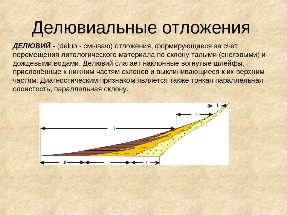 Делювиальные отложения ДЕЛЮВИЙ - (deluo - смываю) отложения, формирующиеся за...