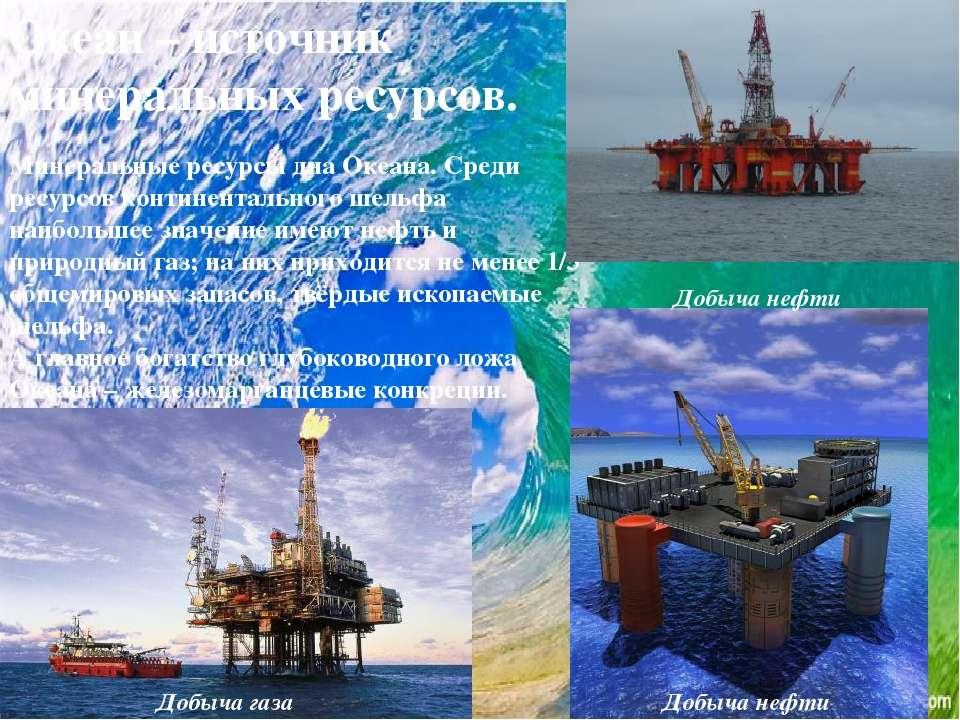 Океан – источник минеральных ресурсов. Минеральные ресурсы дна Океана. Среди ...