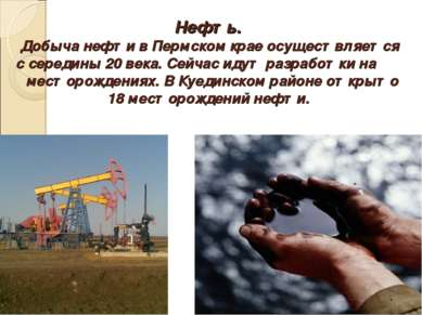 Нефть. Добыча нефти в Пермском крае осуществляется с середины 20 века. Сейчас...