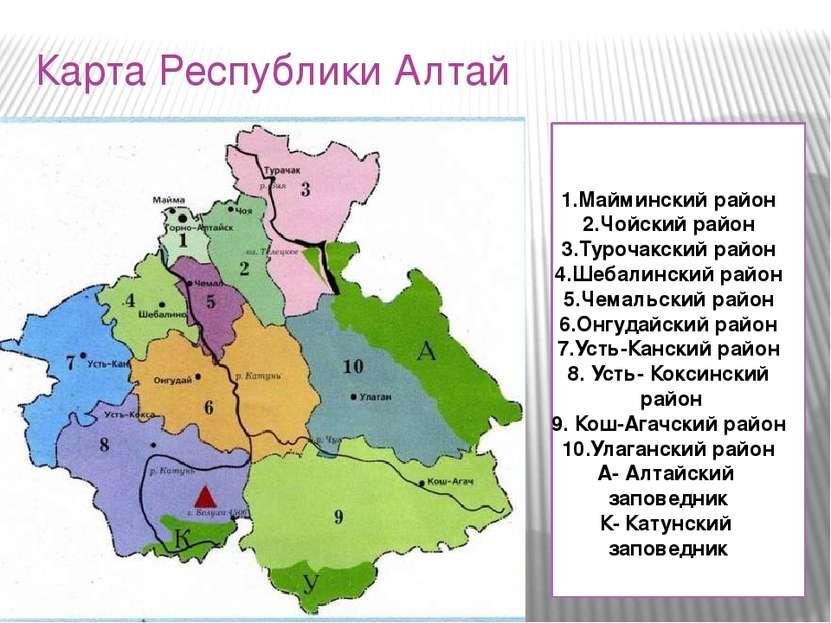 Карта Республики Алтай 1.Майминский район 2.Чойский район 3.Турочакский район...