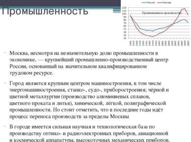 Промышленность Москва, несмотря на незначительную долю промышленности в эконо...