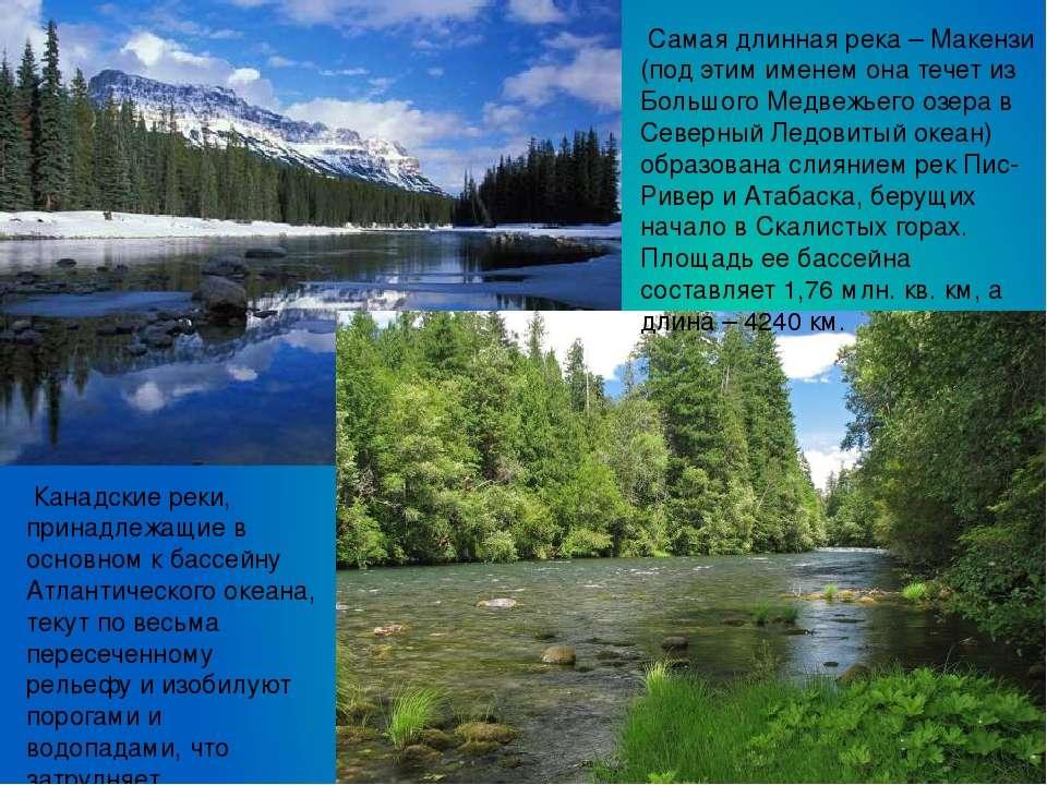Самая длинная река – Макензи (под этим именем она течет из Большого Медвежьег...