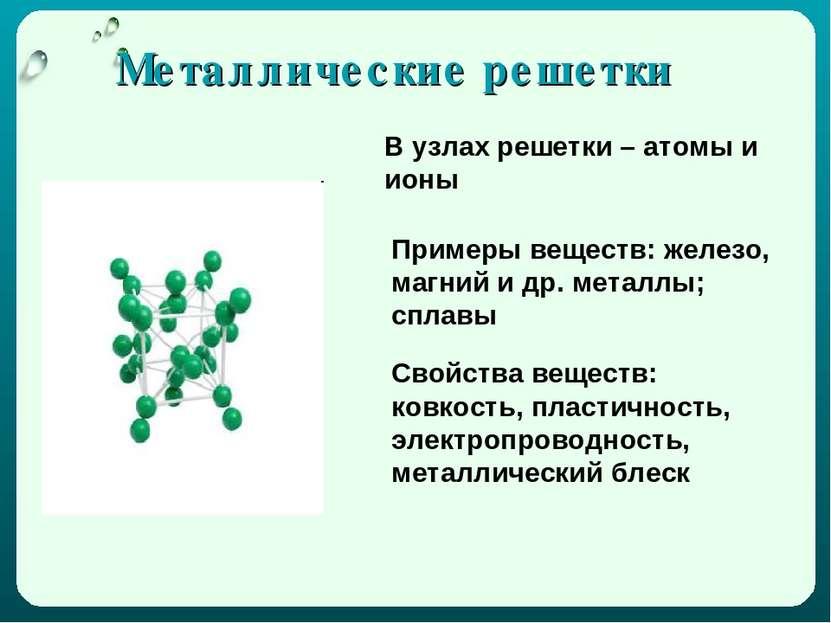 Металлические решетки В узлах решетки – атомы и ионы Примеры веществ: железо,...