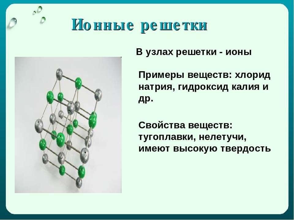 Ионные решетки В узлах решетки - ионы Примеры веществ: хлорид натрия, гидрокс...