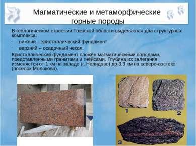 Магматические и метаморфические горные породы В геологическом строении Тверск...