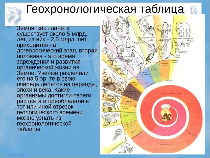 Геохронологическая таблица Земля, как планета существует около 5 млрд. лет, и...
