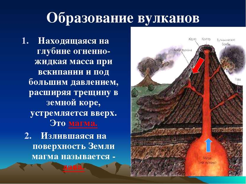 Образование вулканов Находящаяся на глубине огненно-жидкая масса при вскипани...