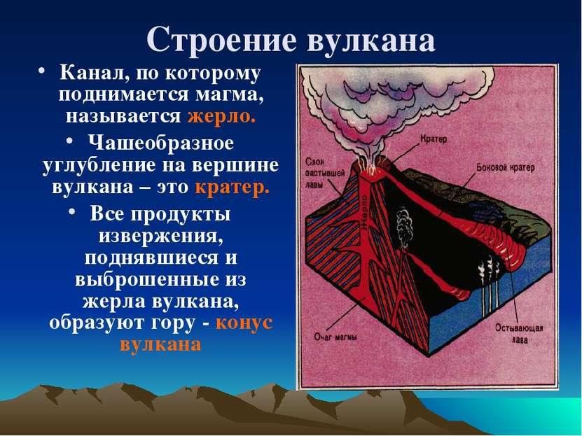 Строение вулкана Канал, по которому поднимается магма, называется жерло. Чаше...