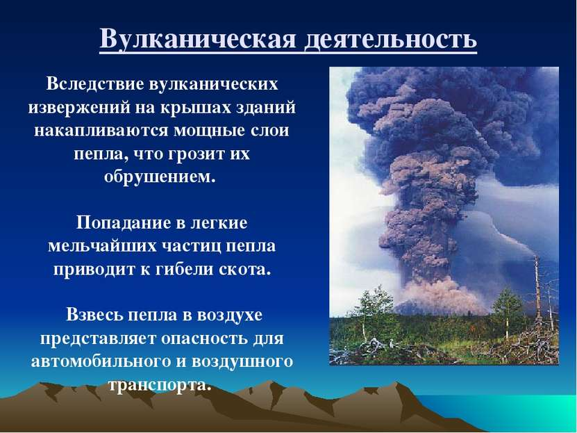 Вулканическая деятельность Вследствие вулканических извержений на крышах здан...