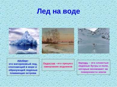 Лед на воде Айсберг- это материковый лед, сползающий в море и образующий ледя...