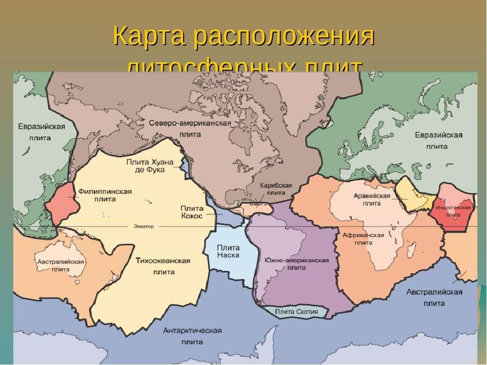Карта расположения литосферных плит